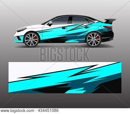 Racing Car Wrap. Abstract Strip Shapes For Company Car Wrap, Sticker, And Decal Template Design Vect
