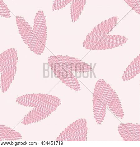 Scribbled Vector Pink Heart Seamless Pattern Background. Backdrop With Delicate Pencil Effect Scatte
