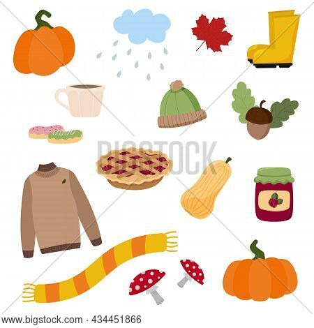 Cute Cartoon Autumn Icon And Objects Set For Design. Raspberry, Acorn, Pumpkin, Sweater, Weather, Oc