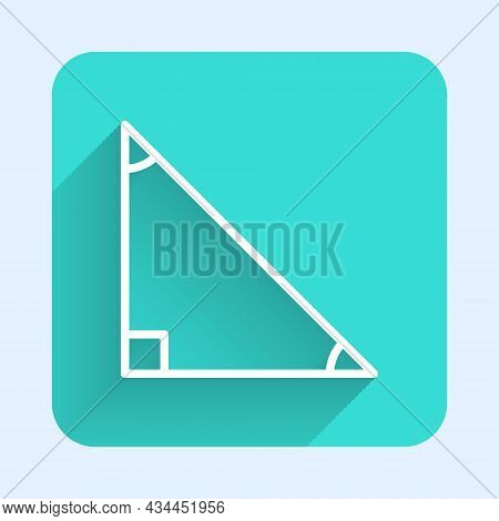 White Line Triangle Math Icon Isolated With Long Shadow. Green Square Button. Vector