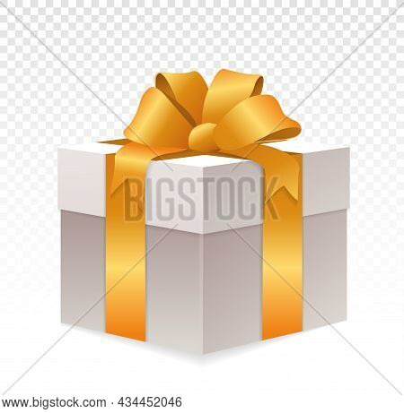 White Giftbox With Golden Wrapping On Transparent Background. Realistic Gift Box. Cube Shape Present