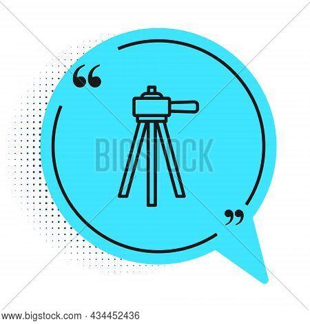 Black Line Tripod Icon Isolated On White Background. Blue Speech Bubble Symbol. Vector
