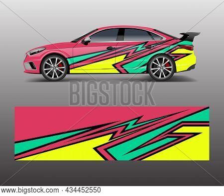 Sport Car Racing Wrap Design. Vector Design. Abstract Racing Graphic Vector For Sport Car Wrap Desig