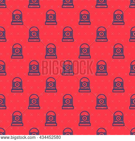 Blue Line Ringing Alarm Bell Icon Isolated Seamless Pattern On Red Background. Alarm Symbol, Service