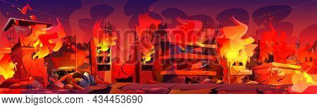City In Fire, Burning Buildings And Car With Smoke And Flame. War Destruction, Natural Disaster Or C