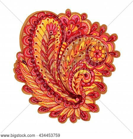 Decorative Element In Doodle Style, Isolated On White Background. Multicolor Paisley Print . Waterco