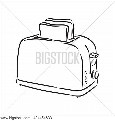 Doodle Style Breakfast Toaster Illustration In Vector Format.