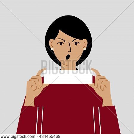 An Anxious And Angry Woman Holds A Sheet Of Paper. Blank Paper Space For Text. Colored Flat Vector I