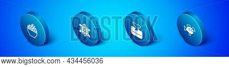 Set Isometric Caviar, Whale Tail In Ocean Wave, Tropical Fish And Turtle Icon. Vector