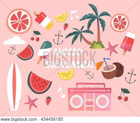 Cute Set Of Essential Fun Summer Elements And Hello Summer Lettering On Pink Background. Concept Of
