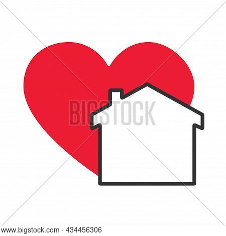 Stay Home Logo Icon Vector Design Illustration. House With Love Icon Design Concept. A House With A