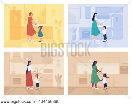 Child Distracts Mother Flat Color Vector Illustration Set. Busy Parent Doing Housework. Toddler Dema