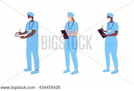 Hospital Doctor Semi Flat Color Vector Character Set. Standing Figure. Full Body People On White. Ph