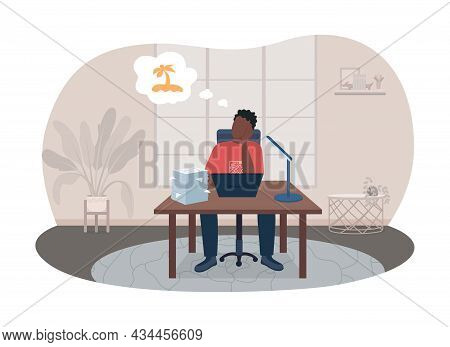 Burnout From Work 2d Vector Isolated Illustration. Man Sitting At Desk Thinking Of Vacation. Depress