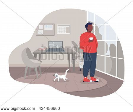 Coffee Break At Home 2d Vector Isolated Illustration. Man Standing In Apartment. Rest From Work. Rel