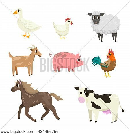 Different Farm Animal Cartoon Characters Vector Illustration Set. Cute Hen, Horse, Sheep, Cow, Pig,
