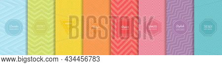 Rainbow Chevron Vector Geometric Seamless Patterns Collection. Set Of Bright Colorful Backgrounds Wi