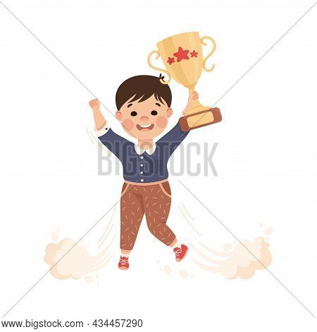 Superhero Little Boy At School Flying Up With Prize Achieving Goal And Gaining Knowledge Vector Illu
