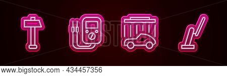 Set Line Hammer, Multimeter, Car Wash And Windscreen Wiper. Glowing Neon Icon. Vector