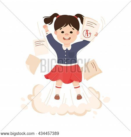Superhero Little Girl At School Flying Up Achieving Goal And Gaining Knowledge Vector Illustration