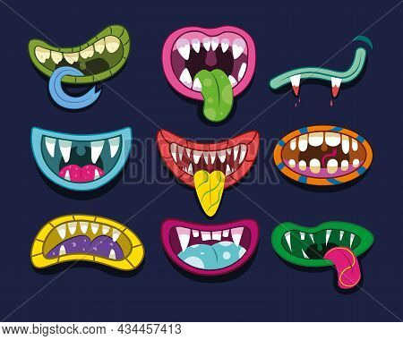 Monster Mouth Cartoon Set. Vector Illustration Of Funny Scary Smile With Tongue And Teeth. Crazy Lau