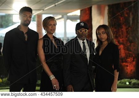 Tonya Lewis Lee, Spike Lee, Satchel Lee and Jackson Lee at the Academy Museum of Motion Pictures Opening Gala held at the Academy Museum of Motion Pictures in Los Angeles, USA on September 25, 2021.