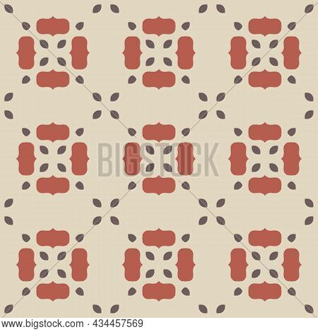 Vector Floral Trendy Pattern. Vintage Ornament With Flowers, Beautiful Red, Brown, Beige Shapes. Bac