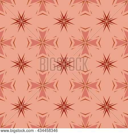 Seamless Floral Geometric Pattern. Ornamental Abstract Illustration With Maroon, Red, Pink Lines, Fl