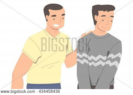 Man Character Supporting Friend Encouraging Cheering Up And Raising His Spirit Vector Illustration