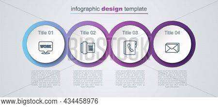 Set Line Location With Text Work, Telephone, Address Book And Envelope. Business Infographic Templat