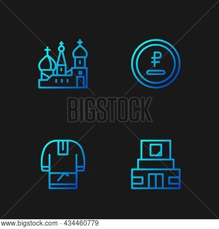 Set Line Mausoleum Of Lenin, Kosovorotka, Saint Basils Cathedral And Rouble, Ruble Currency. Gradien