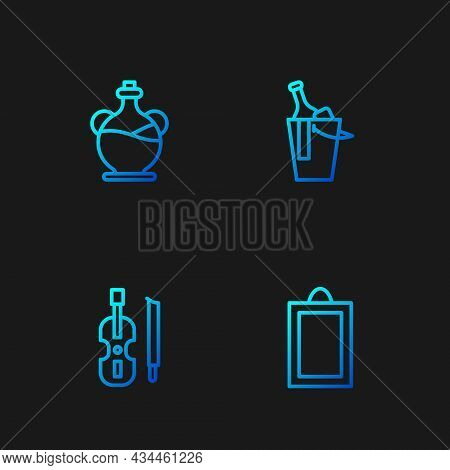 Set Line Picture, Violin, Bottle Of Olive Oil And Wine Bucket. Gradient Color Icons. Vector