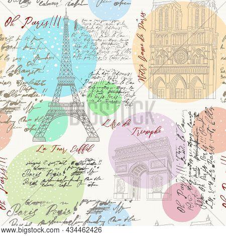 Seamless Pattern With The Sights Of Paris. The Eiffel Tower, Notre Dame De Paris, The Arc De Triomph