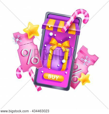 Christmas 3d Discount Coupon, Vector Winter Holiday Event Voucher, Smartphone, Gift Box, Ticket. Onl