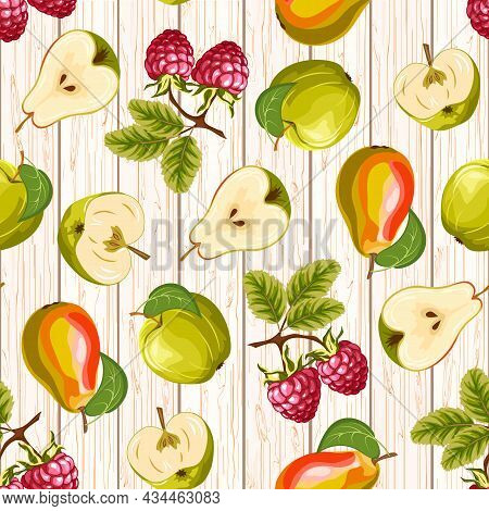 Pattern With Fruits On A Wooden Background.fruits And Berries On A Wooden Background In A Color Vect
