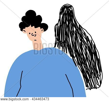 The Concept Of Psychological Disorders. A Shadow Behind A Man, A Hidden Disease. Vector Illustration