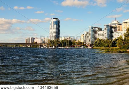 Kyiv, Ukraine-september 26, 2021:skyscrapers On Embankment Of The Dnipro River. Modern Architecture