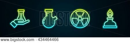 Set Line Test Tube And Flask, , Radioactive And Alcohol Or Spirit Burner. Glowing Neon Icon. Vector