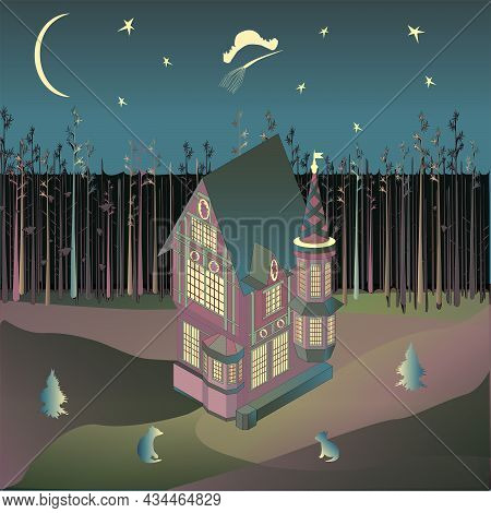 Halloween. Night. October. Half-timbering House At The Edge Of The Forest. Vector Isometry.