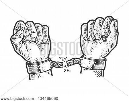 Hands Breaking Shackles Sketch Engraving Vector Illustration. T-shirt Apparel Print Design. Scratch