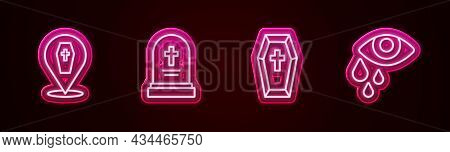 Set Line Coffin With Cross, Grave Tombstone, And Tear Cry Eye. Glowing Neon Icon. Vector