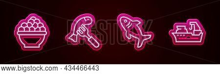 Set Line Caviar, Served Fish On Plate, Shark And Fishing Boat. Glowing Neon Icon. Vector