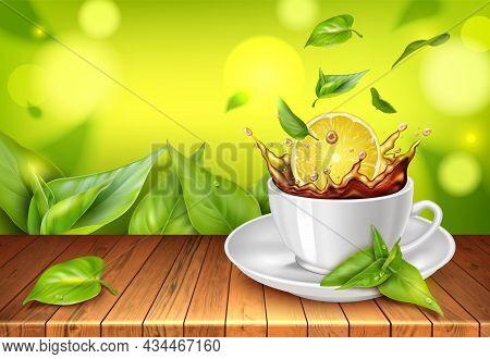 Realistic Detailed 3d Black Tea With Lemon Concept Background. Vector Illustration Of Hot Beverage W