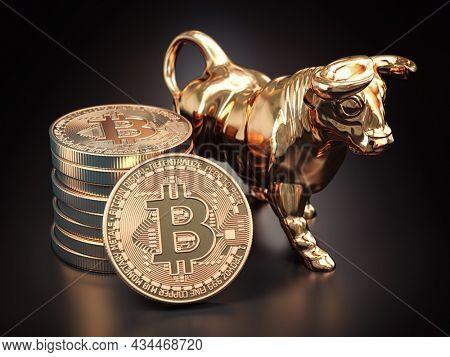 Bitcoin coin with bull on black background. Bullish market of BTC. 3d illustration