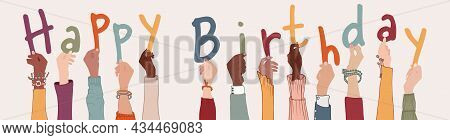 Raised Arms Of Colleagues Or Friends Diverse Multi-ethnic Multiracial People Holding Letters Forming