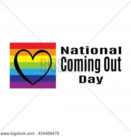 National Coming Out Day, Idea For Poster, Banner Or Postcard, Rainbow Background And Heart Vector Il