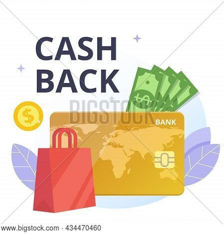 Cashback And Payment Of Purchase Flat Vector Concept