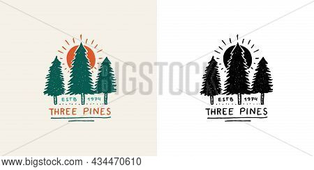 Christmas Trees With Red Sun Emblem Or Badge. Fir Forest. Engraved Hand Drawn In Old Vintage Sketch.