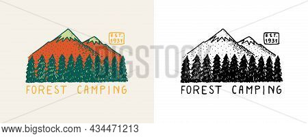 Mountain With Trees And Hill Emblem. Camping Badge. Fir Forest And Mount. Engraved Hand Drawn In Old