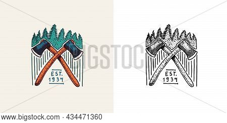 Christmas Trees With An Ax Emblem Or Badge. Fir Forest. Engraved Hand Drawn In Old Vintage Sketch. D